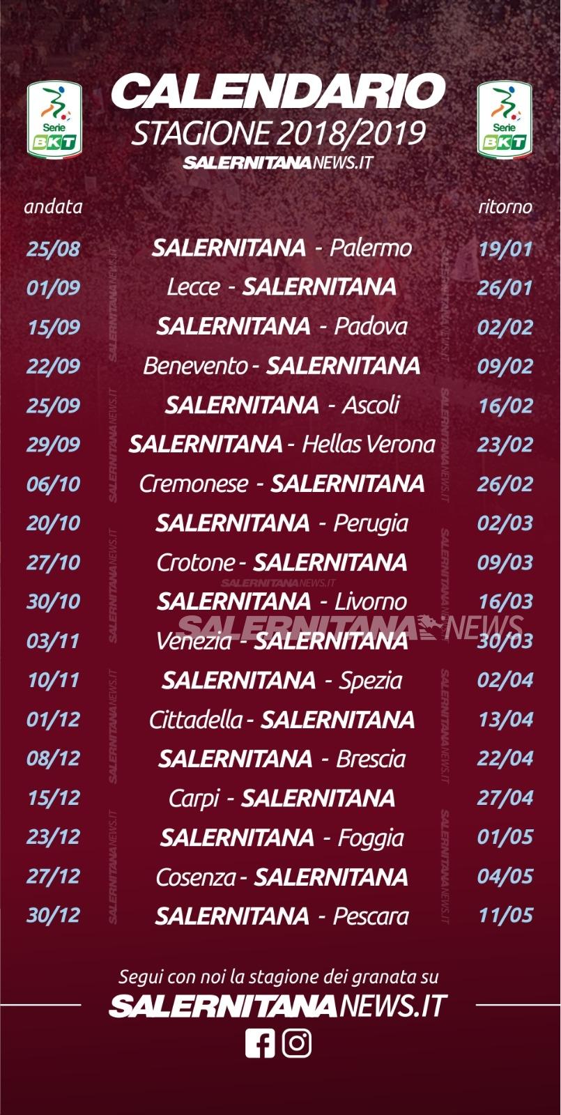 Calendario Salernitana.Foto Il Cammino Dei Granata Giornata Dopo Giornata Scarica