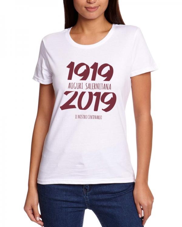 t-shirt centenario salernitana 1919 2019 donna bianca