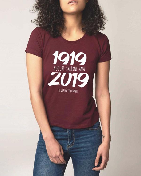 t-shirt centenario salernitana 1919 2019 donna granata