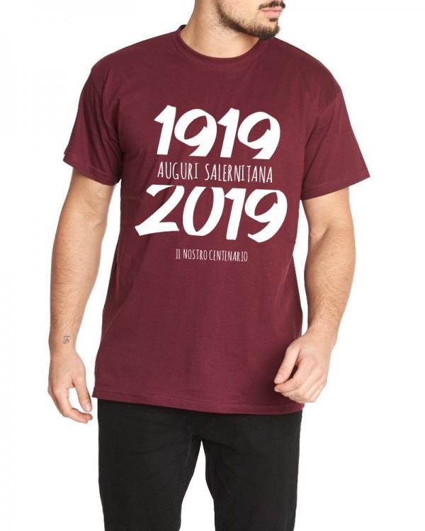 t-shirt centenario salernitana 1919 2019 uomo granata