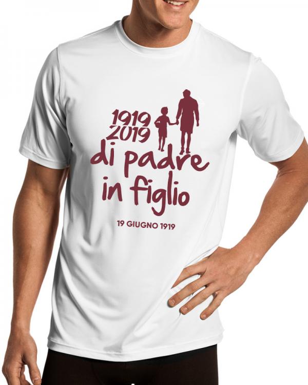 t-shirt centenario salernitana di padre in figlio uomo bianca