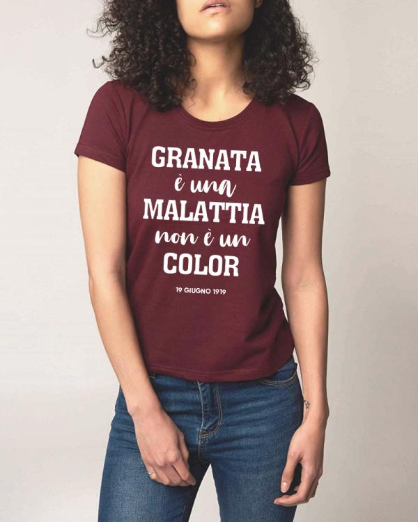 t-shirt centenario salernitana granata è ua malattia non è un color donna granata