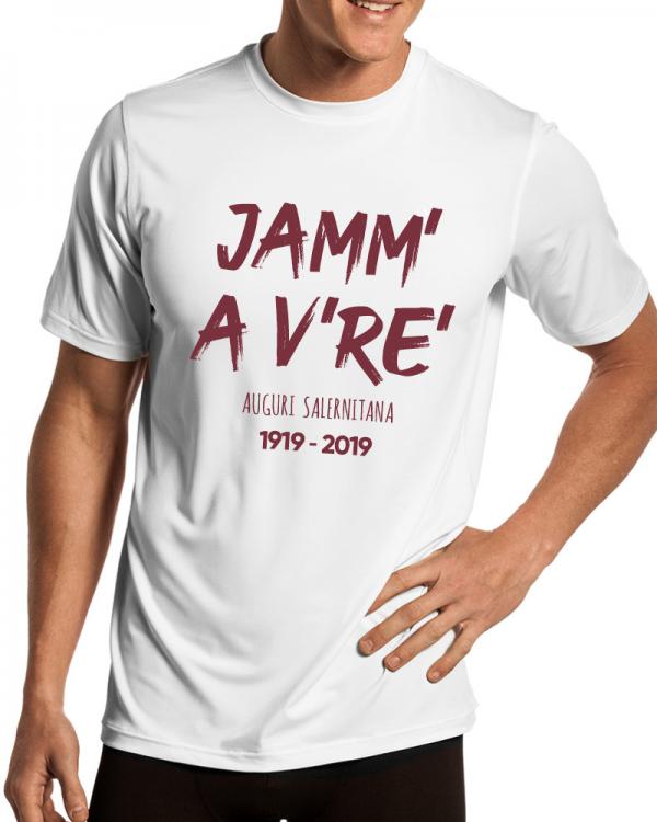 t-shirt centenario salernitana jamm a vre uomo bianca