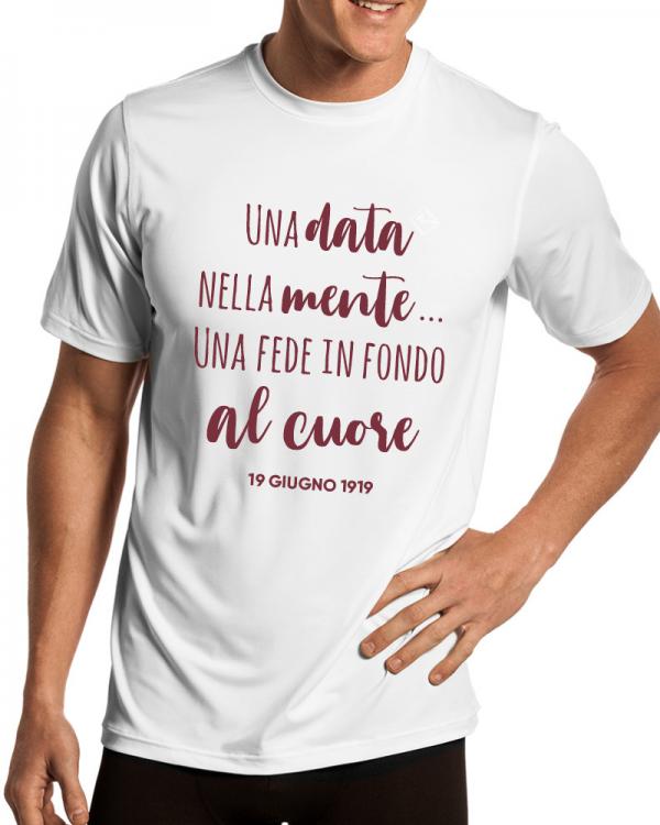 t-shirt centenario salernitana una data nella mente uomo bianca